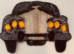 "Rolls Royce Rare Auto Patch with gold silver black Sequins and Beads 6"" x 8"""