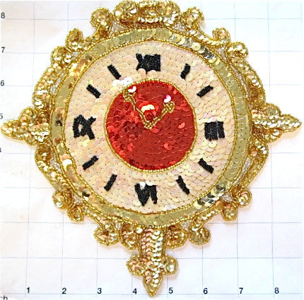"Clock with Gold Beige Red Sequins and Beads 8.5"" x 9"""