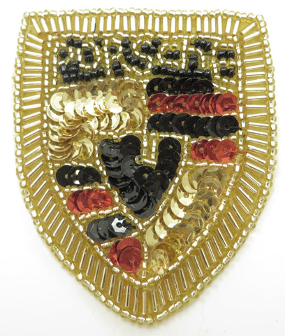 "Porsche Car Patch with Gold Red Black Sequins and Beads 3"" x 2.5"""
