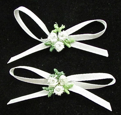 "Flower Set of Two White and Green 2"" x 1"""