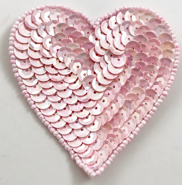 "Heart with Baby Pink Sequins and Beads 3"" x 3.5"""