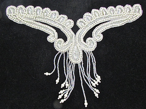 "Designer Motif Neck Line with Iridescent Sequins and  Pearls  8"" x 10.5"""