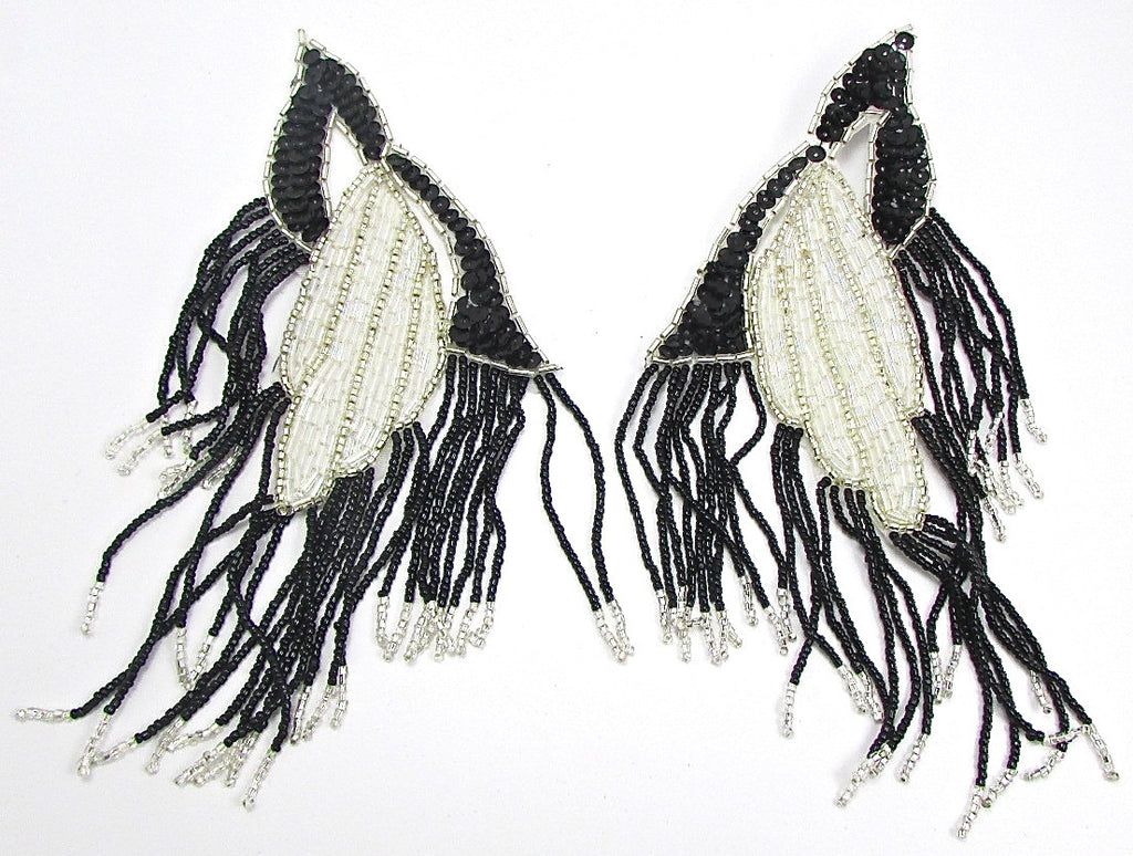 "Designer Epaulet Pair Black, Silver and White Iridescent Sequins and Beads 8"" x 4"""