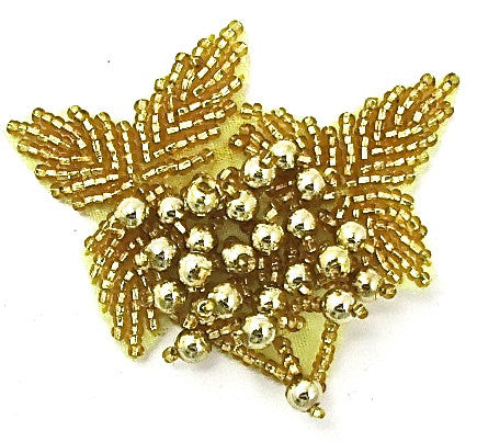 "Epaulet with Gold Beads 2"" x 2.5"""