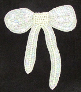 "Bow with Iridescent Sequins and White Beads 6""  x 6"""
