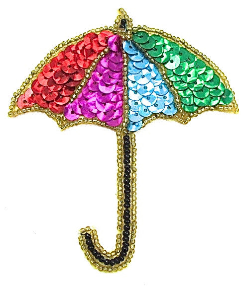 "Umbrella with Multi-Colored Sequins and Beads  3.5"" x 3.25"""