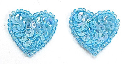 Heart Pair with Sky Blue Sequins and Beads 1""