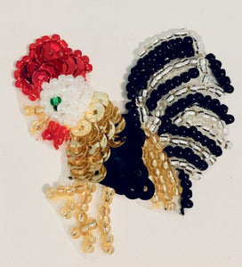 "Rooster Mini Size with Sequins & Beading 2"" x 2"""