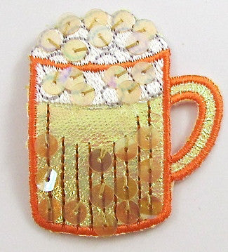 "Drinking Mug Iron-On Embroidered with Sequins 2"" x 1.5"""