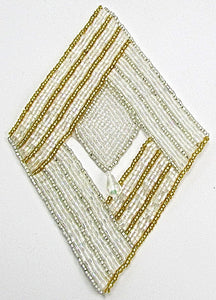 "Designer Motif  Diamond Shape with Silver and Gold Beads and Clear Dangle 6"" x 4"""