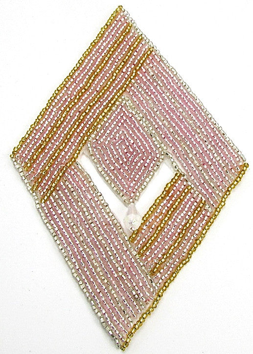 "Designer Motif Diamond Shape with Pink and Gold Beads and Dangle 6"" x 4"""