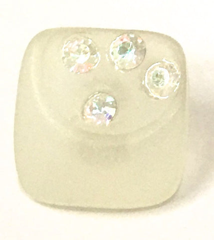 Button Clear with Three AB Rhinestones .5""