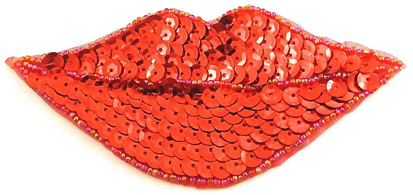 "Lips with Red Sequins and Beads 2.25"" x 5"""