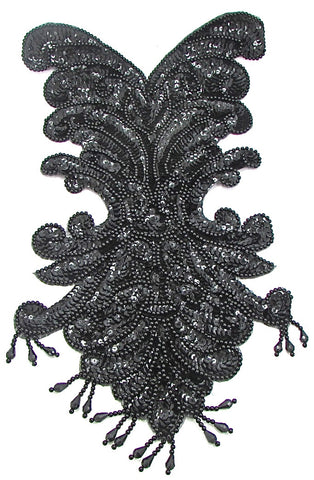 "Designer Full Body with Black Sequins and Beads 18"" x 10"