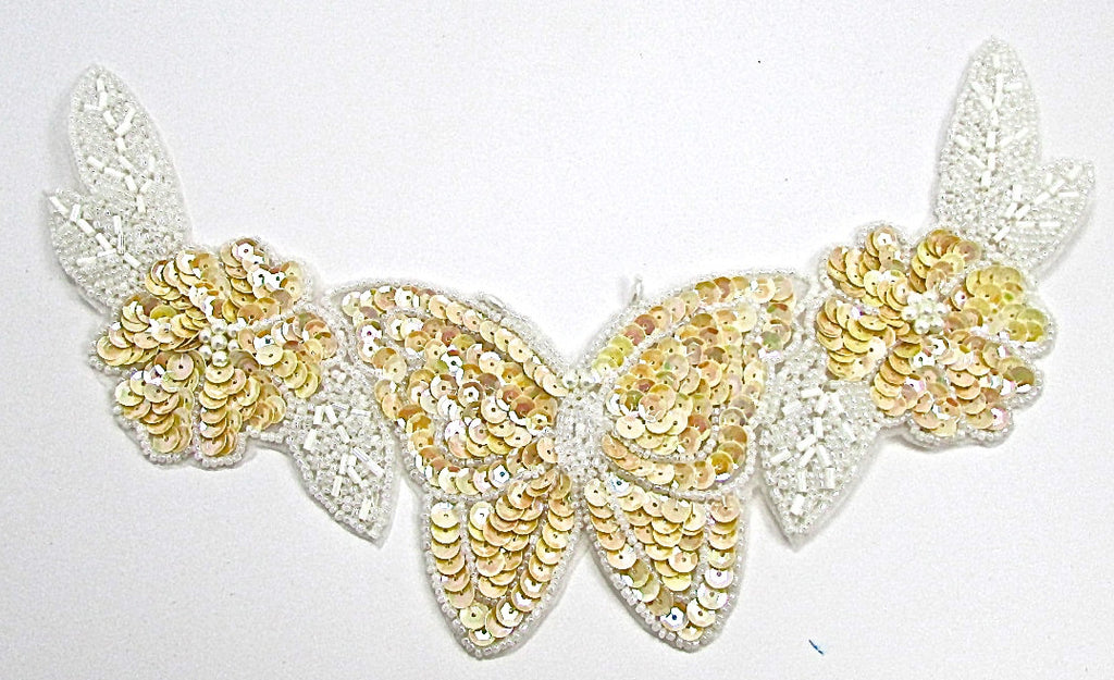 "Flower  Neckline with Butterfly, Beige Sequins and White Beads 10.5"" x 6"""