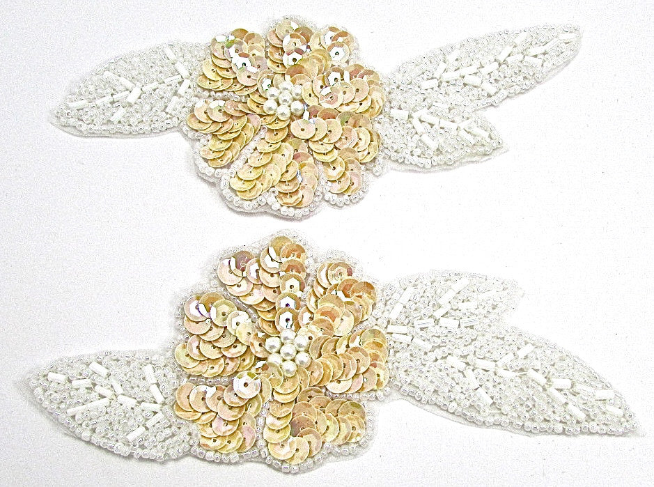 "Flower Pair with Beige Sequins and White Pearl Beads 2.25"" x 6"""