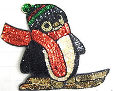 "Load image into Gallery viewer, Penguin Skiing  in two sizes: 6.25"" x 8"" & 3''x 4"""
