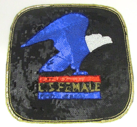 Eagle on Blue U.S. Female with Sequin Beaded 11""