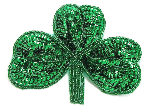 "Clover Three Leaf with Green Sequins and Beads 4.75"" x 3.75"""