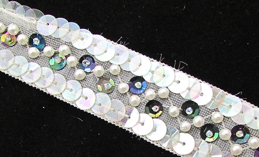 "Trim Iridescent and Moonlite Sequins with White Pearls 1"" Wide, Sold by the Yard"