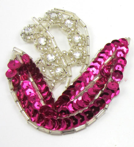 "Flower Fushia with Rhinestones  3"" x 2.5"""