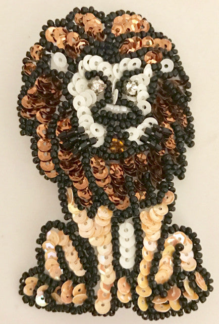 Lion with Black Mane, Sequin Beaded  3.5""