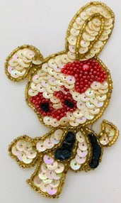 "Bunny Rabbit with Tan Sequins and Red Beads 4"" x 2.25"""