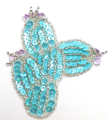"Cactus with Light Turquoise, Lavendar Sequins and Silver Beads  3"" x 3"""