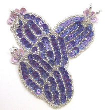 "Load image into Gallery viewer, Cactus with Purple Sequins and Lavendar Flowers 3"" x 3"""