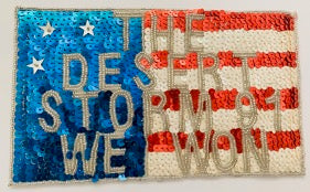 "The Desert Storm 91 We Won Applique with Sequins and Beads 4.5""x 7.5"""