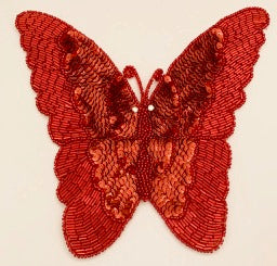 "Butterfly Red with Rhinestone Eyes 6.5"" x 8"""