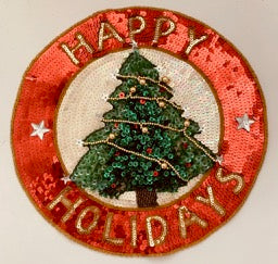 Happy Holidays Christmas Tree Applique 11""