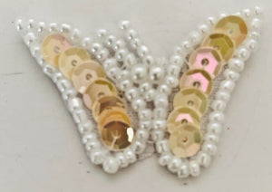"Butterfly with Beige Sequins and White Beads 1"" x 1.5"""
