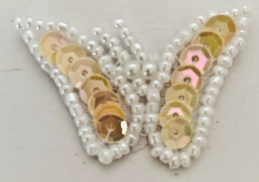 Butterfly with Beige Sequins and White Beads 1