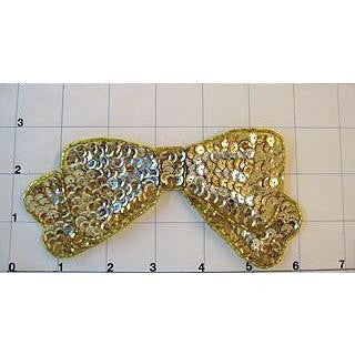 "Bow Gold Sequin 3"" x 6"""