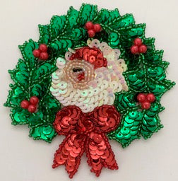 "Wreath with Santa and Red Bow 4""x 4"""