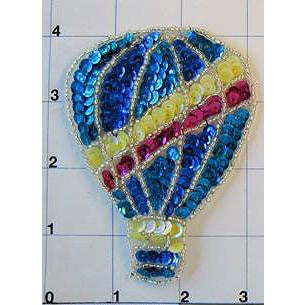 "Hot Air Balloon with Turquoise, Yellow and Fuchsia Sequins and Silver Beads 4"" x 3"""