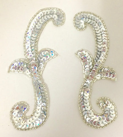 "Designer Motif Pair with Silver Sequins and Beads 5"" x 2"""