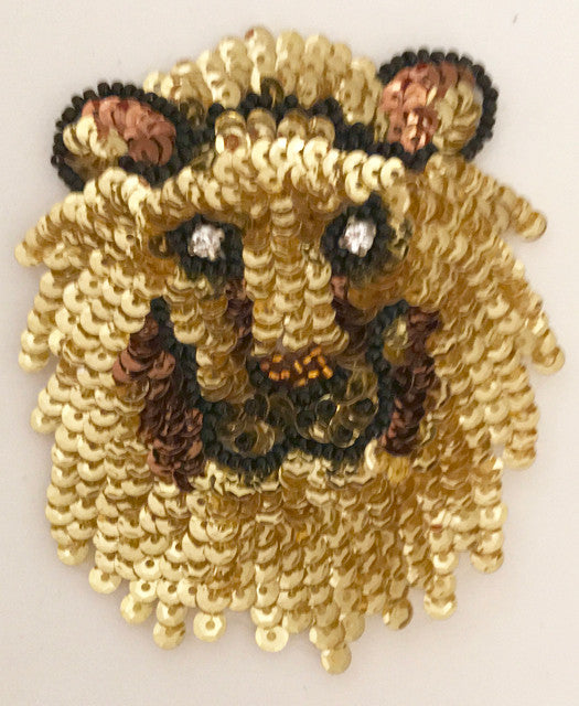 Lion Face with Rhinestone Eyes, Sequin Beaded  3.5""