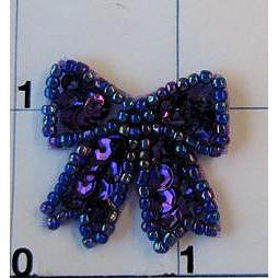 "Bow Purple Sequins and Beads 1"" x 1"""