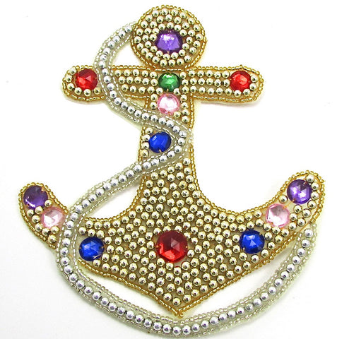 "Anchor with Gold Beads and Multi-Colored Stones 6"" x 5"""