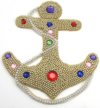 "Load image into Gallery viewer, Anchor with Gold Beads and Colored Stones Large 10"" x 8.5"" - Sequinappliques.com"
