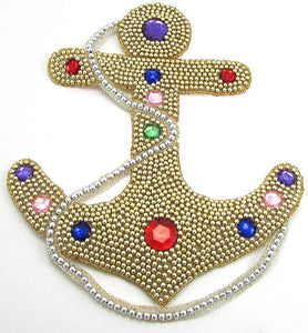 "Anchor with Gold Beads and Colored Stones Large 10"" x 8.5"" - Sequinappliques.com"