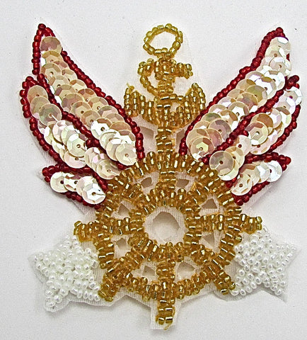 "Anchor Patch with Wheel Wings & Stars, Sequin Beaded  3.5"" x 3"""