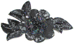 Flower with Moonlite Sequins and Black Beads 4.5""