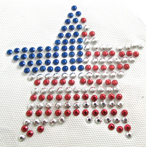 Flag Star with Crystals heat Press Iron-0n 4""