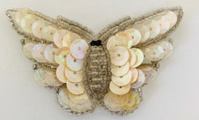"Butterfly Beige and Iridescent with Silver Beads 2.5"" x 1.5"""