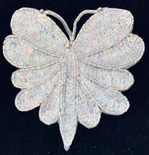 "Load image into Gallery viewer, Butterfly White Sequins and Pearls and Rhinestones 5.5"" x 5.75"""