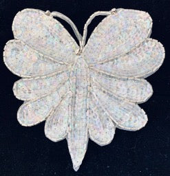 "Butterfly White Sequins and Pearls and Rhinestones 5.5"" x 5.75"""