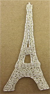 "Eiffel Tower with Silver Beads 6.25"" x 3"""